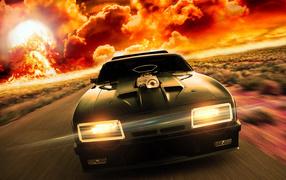 Скоростной автомобиль на фоне огня