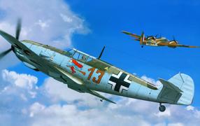 Немецкий самолет в бою