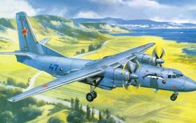 Советский самолет над полями