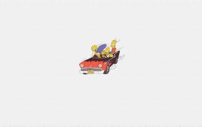 Симпсоны на автомобиле