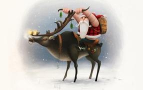Santa Claus on a deer