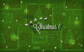 Поздравление с Рождеством на зеленом фоне