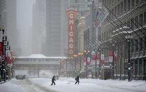 Снежная зима в Чикаго