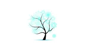 Дерево в снежинках