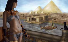 Египетская девушка на реке нил