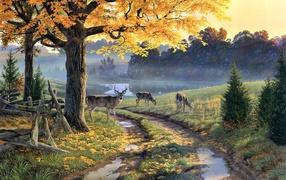 Картина Лужи на дороге