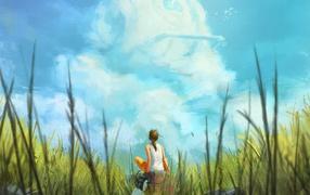 Девушка смотрит на облака