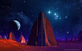 Alien city at night