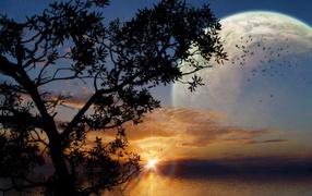 Фантастический закат с луной