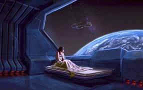 Девушка в космическом корабле