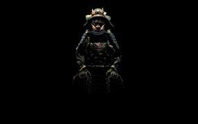 Samurai on a black background