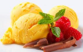 Lemon ice cream with raspberry