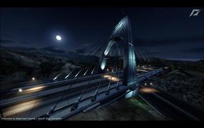 Скоростная дорога в лунную ночь