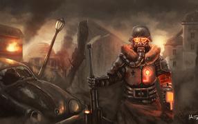 Warrior in a helmet