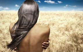Girl in rye field