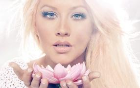 Christina Agulara with flower