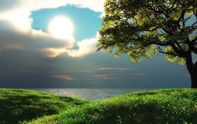 Солнце между облаков