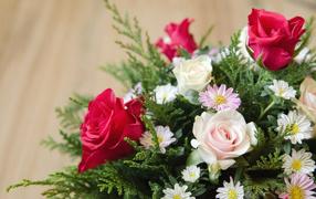 Chrysanthemum and rose flowers