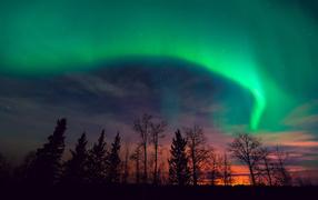 Северное сияние на закате