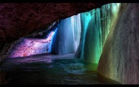 Rainbow frozen waterfall