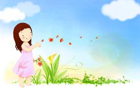 Девочка пускает лепестки по ветру