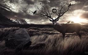 Олень с рогами деревьями