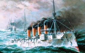 Четырех трубный крейсер