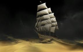 Sailing ship in the night sea