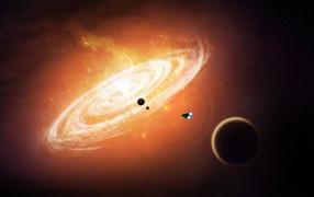 Космический корабль летит к галактике