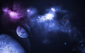 Космические корабли летят у планеты