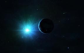 Свет солнца в космосе
