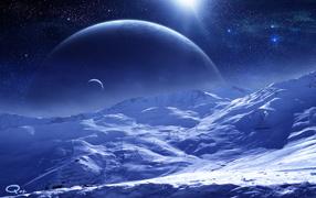 Белая поверхность планеты
