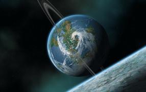 Планета с атмосферой и облаками