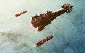 Космические корабли над планетой