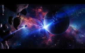 Космические корабли среди астероидов