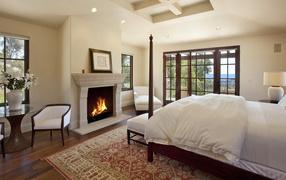 Интерьер Спальня с камином