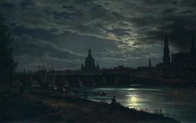 Картина Вид Дрездена на полнолуние