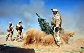 Работа артиллерии на пустыне