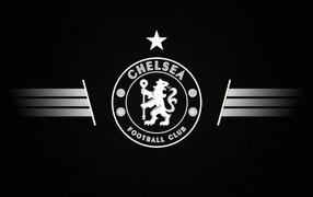 Футбольный клоб Челси, логотип пребелый получи сером