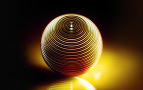 Металлическая желтая шар отражается во поверхности
