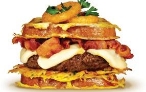 Сытный бургер  со котлетой получи и распишись белом фоне