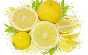 Свежие желтые лимоны получай белом фоне