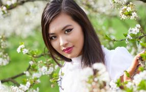 Красивая девка азиатка во ветках цветущего дерева