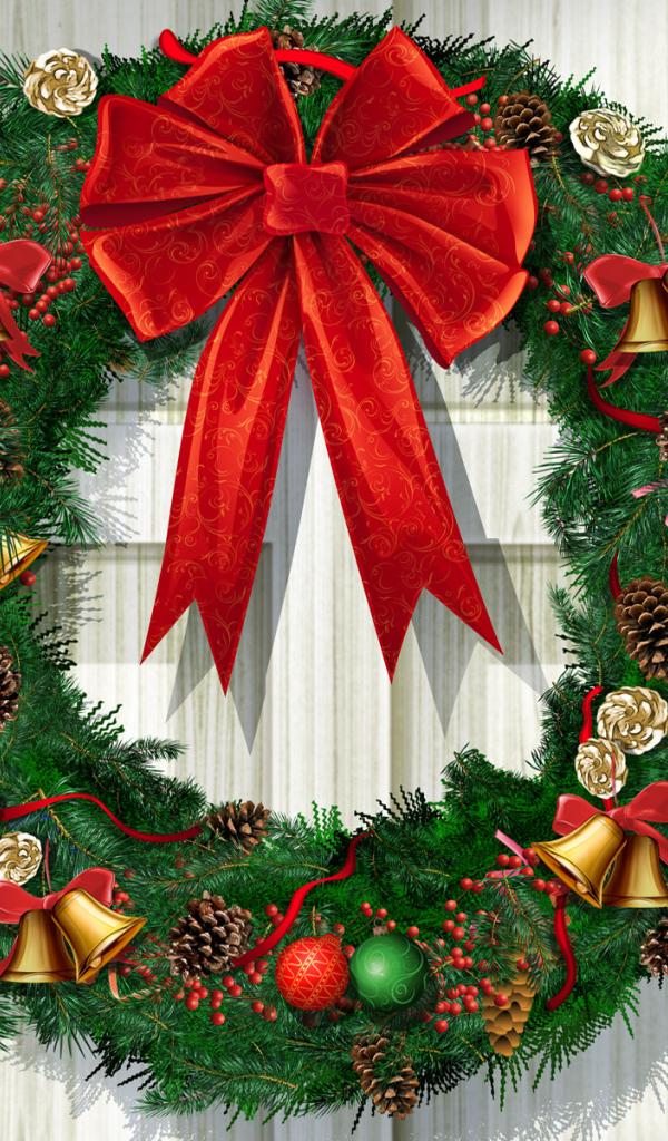 Christmas Wreath Desktop wallpapers 600x1024