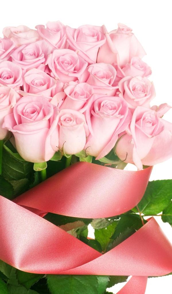 Розовые розы открытка с днем