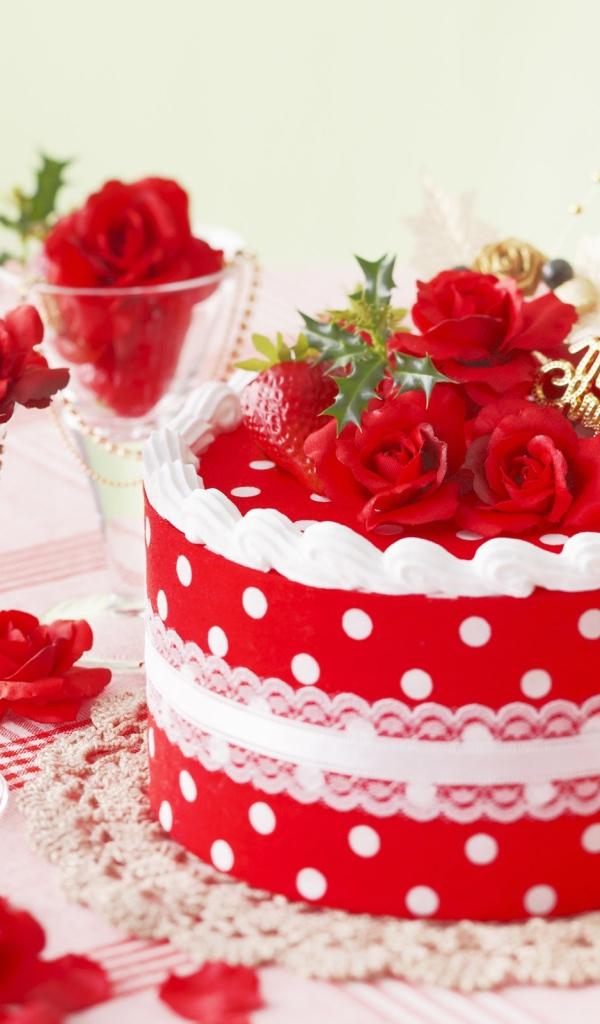 Открытки с днем рождения с тортиком и цветами