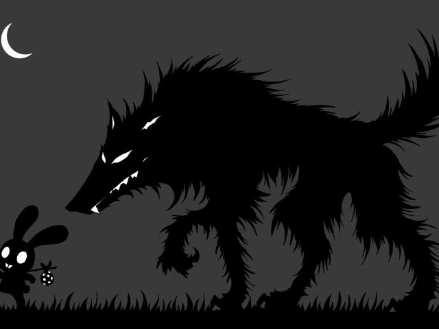 Обои волк и заяц
