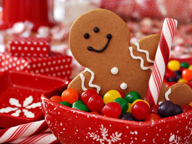 Обои новогодние сладости