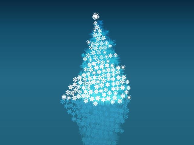 Обои на рабочий стол минимализм:елка, ёлочное украшение, снежинки - скачать бесплатно