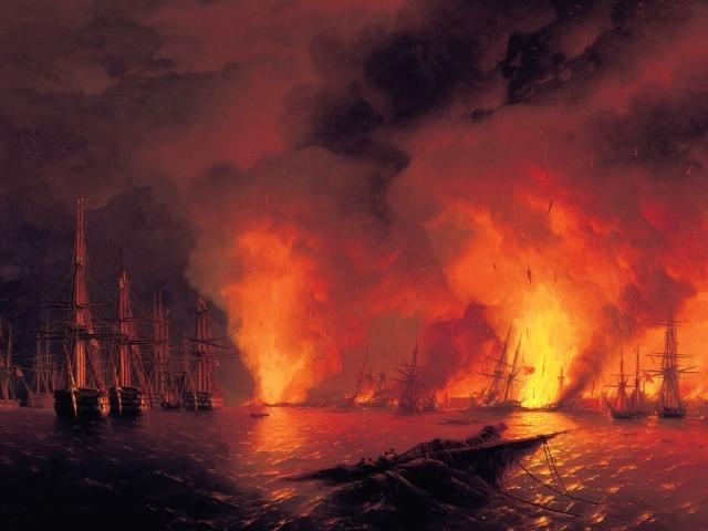 Картина Айвазовского Синоп. Ночь впоследствии боя 08 ноября 0853 года